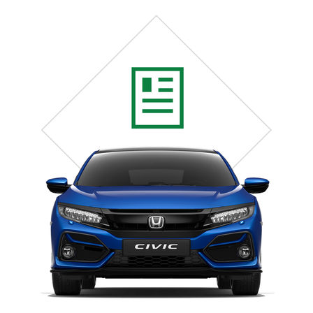 Front three-quarter facing Honda Civic with brochure illustration.