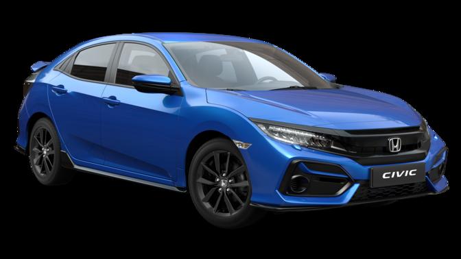 Vista frontal de tres cuartos del Honda Civic EX Sportline Azul Obsidiana Perlado