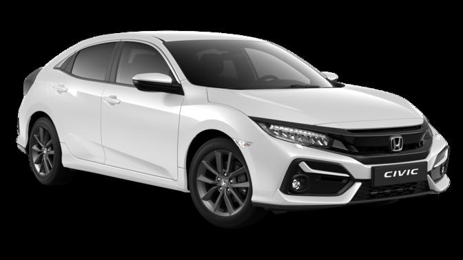 Vista frontal de tres cuartos del Honda Civic 5 puertas Comfort Sport Line Blanco Platino
