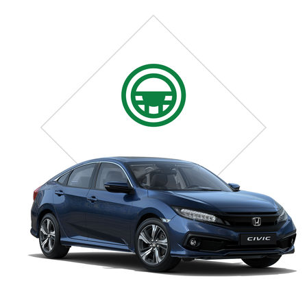Front three-quarter facing Honda Civic 4 door with test drive illustration.