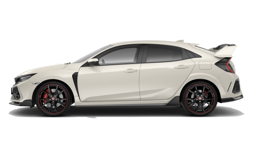 Vista lateral del Honda Civic Type R en Blanco Championship.