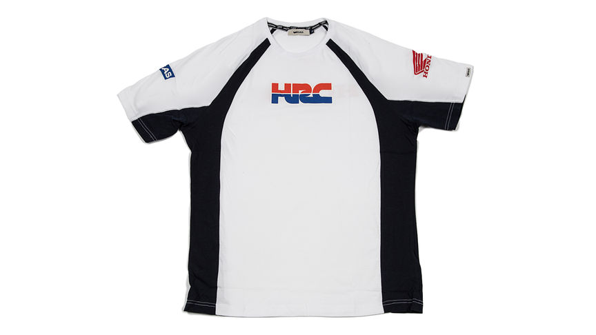 Camiseta en color blanco y negro con logo corporativo de Honda Racing