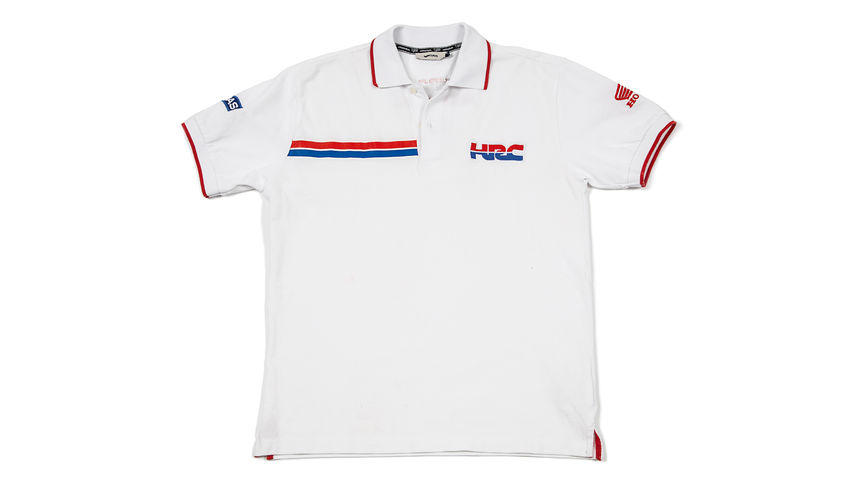 Polo blanco con logo corporativo de Honda Racing