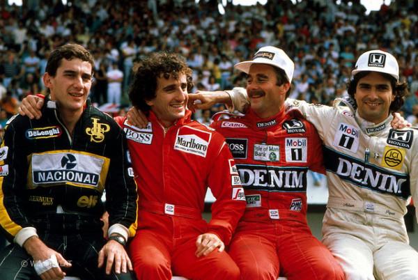 Mucho talento en una sola foto: Ayrton Senna, Alain Prost, Nigel Mansell y Nelson Piquet, en el GP de Portugal de 1986